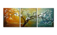 Wieco Art full blossom-Modern Canvas Wall Art Decor Framed Floral Oil Paintings on Canvas Item# 1492  - Click image twice for more info - See a larger selection of wall paintings at http://www.zbestsellers.com/level.php?node=106&title=oil-paintings - home, home decor, home ideas, wall decor, oil paintings, gift ideas