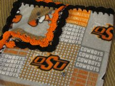 Oklahoma State Cowboys College OSU Fleece Baby Blanket With Crochet Ruffle - Baby/Toddler Girl or Boy - Small Size by UnhungHarps on Etsy