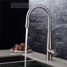 キッチン水栓 台所蛇口 引き出し水栓 冷熱混合水栓 水道金具 ヘアライン FTTB019