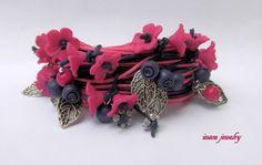 Forget me not  Fuchsia  Wrap bracelet  Boho by insoujewelry
