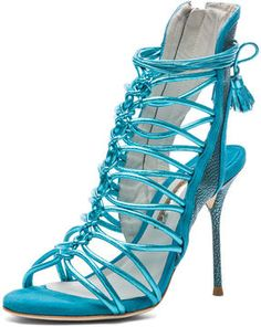 http://elle.shopstyle.com: Sophia Webster Lacey Tie Up Heel in Turquoise Metallic