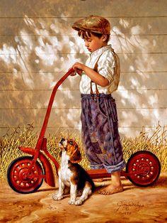 Love his work. The late Norman Rockwell. Norman Rockwell painting Norman Rockwell - I love his artwork! Go Home - Jim Daly. Norman Rockwell Art, Norman Rockwell Paintings, Illustrations, Illustration Art, Tier Fotos, Dog Art, American Artists, Vintage Children, Art Children