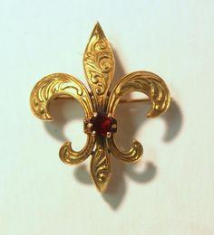 VICTORIAN 14k Yellow Gold FLEUR DE LIS Watch Fob Pin Brooch w/ GARNET 4.8 grams #Unbranded