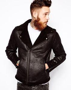 Image 1 ofASOS Biker Jacket In Faux Shearling