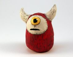 Clay Alien Sculpture, Red and Cream, One-Eyed Yellow Alien