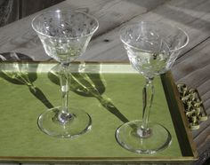 Optic Glass Finely Etched Crystal Stemware by SaltwaterVillage