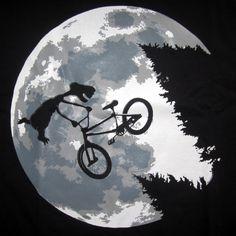 T-shirt ET fait du velo,Spielberg,parodie,humour,bmx