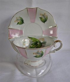 Mid Century UCAGCO Pink Striped Lily of the Valley Floral Footed Cup & Saucer
