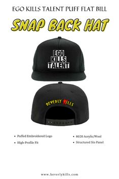 Ego Kills Talent puff embroidered on the front of flat bill snap back cap. Beverly Kills Name Logo embroidered on the back of hat. Men snap back hats, Snap back hats men outfit, Men hip hop snap back hats, Western snap back hats, Harry styles snap back hat, Cool snap back hats, Men snap back hats ideas, Trendy men snap back hats, Popular snap back hats for men, Best men snap back hats! #snapback #beverlykills #mensnapback #mensoutfits Only Fashion, Men Fashion, Fashion Shoes, Hat Men, Hats For Men, All About Shoes, Pinterest Fashion, Style Snaps, Urban Chic