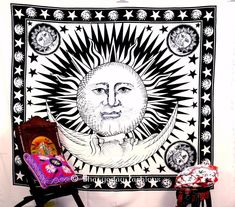 Handicrunch Indian Sun Hippie Hippy Tapestry Wall Hanging Throw Cotton Bed Cover Bohemian Bed Decor Bed Spread Ethnic Decorative Art Table Cloth ** To view further for this item, visit the image link.