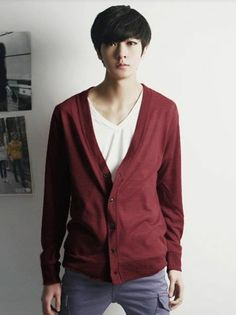 White V-neck under Red Button up Cardigan