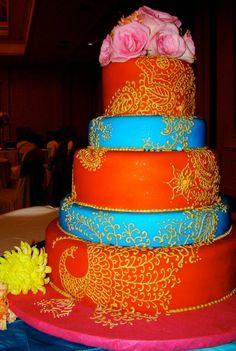 Indian Wedding Cake with Henna Designs.