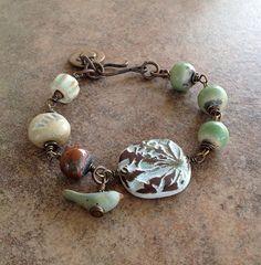 Woodland Asymmetrical Brass Bracelet in Green by MarthaDzJewelry
