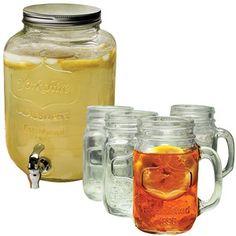 NEW Mason JAR Drink Dispenser With TAP AND Glasses SET   eBay