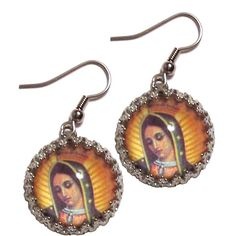 VIRGEN DE GUADALUPE EARRINGS ($18) ❤ liked on Polyvore featuring jewelry, earrings, accessories, fillers and earring jewelry