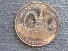 Gibraltar - Moeda de 5 Libras, ano 1998, em comemoração aos preparativos para a virada do Milênio, r