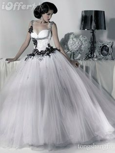Black And White Off-Shoulder Voile Beads Wedding Dress