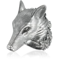 Ugo Cacciatori Sterling Silver Wolf Ring Forzieri ($665) ❤ liked on Polyvore
