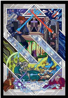 BUY 2 GET 1 FREE Star Wars Stained Glass 103 Cross Stitch