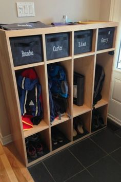 """What an awesome way to utillize a space & """"Drop zone"""" or mud room area. Shown here with organizing bins from Thirty-One Gifts. Click through for details or to browse online."""