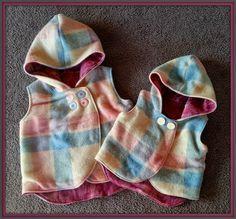 My 3 LittleKiwis: FREE PATTERN {Woollen Vest - cute little hooded vest. Sewing Kids Clothes, Sewing For Kids, Baby Sewing, Diy Clothes, Sew Baby, Party Clothes, Kids Clothing, Kids Patterns, Sewing Patterns Free