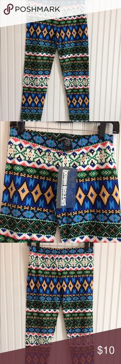 "Southwestern style cotton leggings size XL Multicolour Southwest style leggings with elastic waistband brand new with tags                        Waistband 15"" inseam 29"" Pants Leggings"