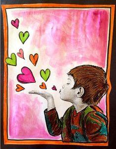 Projet d'arts plastiques pour les 3e année et plus. Il est réalisable avec les plus petits... il faut seulement plus de supervision. :) MON gros coup de coeur pour la St-Valentin. Vous aurez besoin de crayon de bois noir et de feutres de couleurs. Pour finaliser, un peu de gouache en pain. Vos élèves auront un auto portrait d'eux soufflant des coeurs. Un vent d'amour se lève !: