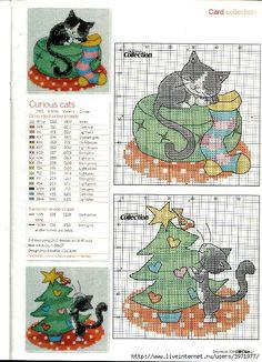 gatos punto de cruz