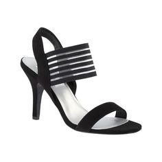 Women's Dyeables Priscilla Slingback Sandal - Black Lame Dress ($59) ❤ liked on Polyvore featuring shoes, sandals, black elastic strap sandals, formal sandals, black sandals, sexy sandals and slingback shoes