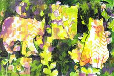 """""""Tabbies in the Garden"""" by Sharon Giles original acrylic monoprint/painting/wc crayon"""