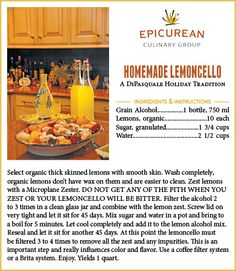 I should make this next time I plan an Italian dinner...   =)   Epicurean's Homemade Lemoncello recipe
