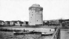 Ο Λευκός Πύργος το 1916 σε λήψη από την προβλήτα Greece History, Thessaloniki, Urban Photography, Tower Bridge, Athens, Old Photos, Past, Old Things, Europe