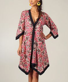Look at this Black & Crimson Status Wrap Tunic on #zulily today!