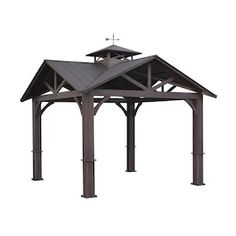 allen + roth Wood Looking Hand Paint Metal Square Semi-Permanent Gazebo (Exterior: x Foundation: x at Lowe's. A + R durable gazebo 12 ft. x 12 ft. with galvalume roof for year-round use.