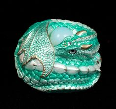 "WINDSTONE EDITIONS ""PALE MINT #1"" CURLED DRAGON FIGURINE; FANTASY STATUE #ebay #fantasyart #collectable #dragon"