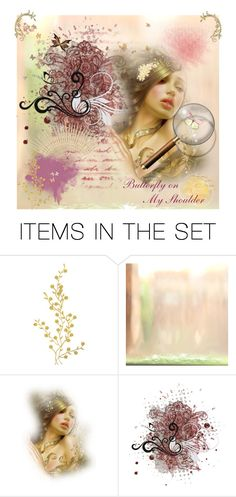 """Butterfly on My Shoulder"" by skpg ❤ liked on Polyvore featuring art"