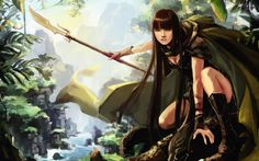 hunting hunter drawing girl guns art forest wallpaper background
