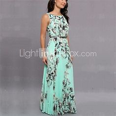 Women's Sexy Casual Party Maxi Inelastic Sleeveless Maxi Dress (Chiffon) - USD $15.99