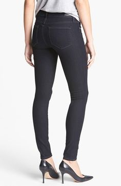 Paige Denim 'Edgemont' Ultra Skinny Jeans (Twilight) // The best dang skinny black jean to lift your tush.  I adore these American made denim pants. #PaigeDenim #ethicallymade #madeinusa #zipperskinnies