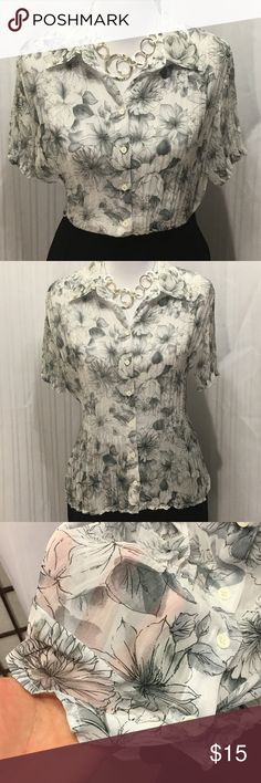 Sheer White w/Grey Flowers Blouse by Fred David Never worn! LP very sheer blouse. Pleated. Great for the office! Machine wash. Accessories not for sale. Fred David Tops Blouses