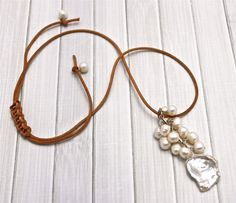 Ocean's+Gem+Leather+and+Pearl+Necklace+by+RustyRoxx+on+Etsy