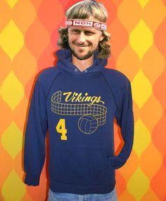 vintage 70s hoody sweatshirt VIKINGS volleyball high school team Medium 80s. $25.00, via Etsy.