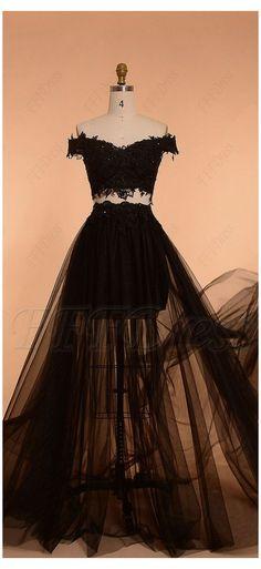 Prom Dresses Two Piece, Pretty Prom Dresses, Prom Dresses For Teens, Tulle Prom Dress, Black Wedding Dresses, Prom Dresses Blue, Ball Dresses, Homecoming Dresses, Cute Dresses