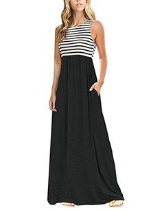 b867b8eefd367a MEROKEETY Women's Summer Striped Sleeveless Crew Neck Long Maxi Dress Dress  with Pockets MEROKEETY (29