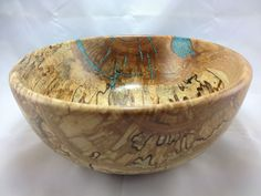 Spalted Yellow Birch Bowl with Turquoise inlay