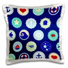 3dRose Sea Blue nautical decor pattern - sailor ocean theme with boat fish anchors and aquatic marine life, Pillow Case, 16 by 16-inch