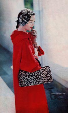 1957  Coat by Dan Millstein, hat by Lilly Dache & bag by Morris Moskowitz