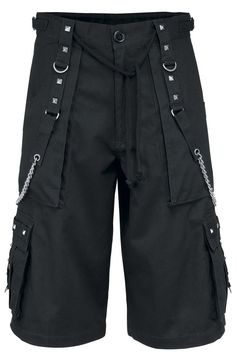 Chain Shorts Shorts – Buy now at EMP – More Gothic Festival available online - Unbeatable prices! Gothic Festival, Short Noir, 00s Fashion, Workout Tops, Black Hoodie, Black Cotton, Backstage, Leather Pants, Cotton Fabric