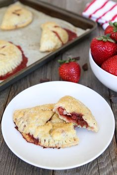Strawberry Dark Chocolate Hand Pies from www.twopeasandtheirpod.com [How cute would these little pies be for your sweetie pie on Valentine's Day? Try with #FairTrade sugar & chocolate!]