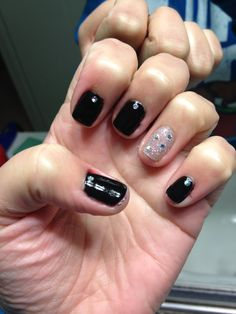 Black and Silver Glitter OPI Gel Polish with Silver Glitter decals
